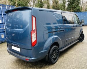 Blue Ford Custom Q Sport DCIV Crew Cab 185ps Auto - Back-Side-Right - by Quadrant Vehicles