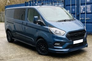 Blue Ford Custom Q Sport DCIV Crew Cab 185ps Auto - Front-Right-Back - by Quadrant Vehicles