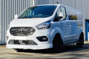 White Ford Custom Q Sport DCIV Crew Cab 130ps - Left-Side-Front - By Quadrant Vehicles
