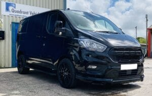 Black Ford Transit Custom Double Cab Q Sport 185ps Auto - right-side-front-angle by Quadrant Vehicles