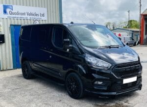 Black Ford Transit Custom Double Cab Q Sport 185ps Auto - right-side-front by Quadrant Vehicles