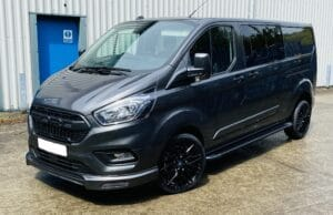 Dark Grey Ford Transit Custom Double Cab Q Sport 185ps Auto - left-side-front by Quadrant Vehicles