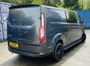 Dark Grey Ford Transit Custom Double Cab Q Sport 185ps Auto - right-side-back by Quadrant Vehicles