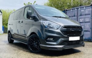Dark Grey Ford Transit Custom Double Cab Q Sport 185ps Auto - right-side-front by Quadrant Vehicles