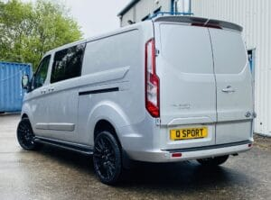 Silver Grey Ford Transit Custom Double Cab Q Sport 185ps Auto - left-side-back by Quadrant Vehicles