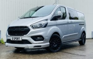 Silver Grey Ford Transit Custom Double Cab Q Sport 185ps Auto - left-side-front by Quadrant Vehicles
