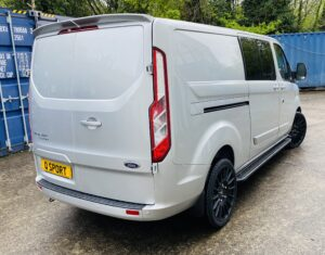 Silver Grey Ford Transit Custom Double Cab Q Sport 185ps Auto - right-side-back by Quadrant Vehicles