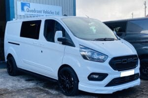 White Ford Custom Q Sport DCIV Crew Cab 130ps - Front-Side-Front - By Quadrant Vehicles