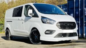 White Ford Custom Q Sport DCIV Crew Cab 130ps - Side-Front - By Quadrant Vehicles